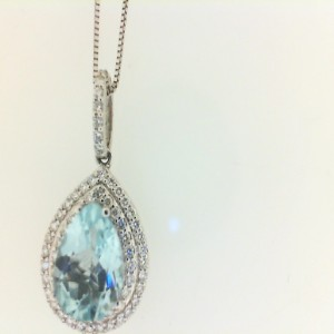 White 14 Karat Pendant With 0.30Tw Round Diamonds And One 1.50Ct Pear Blue Topaz Style: Box Metal: 14 Karat Color: White Length: 18