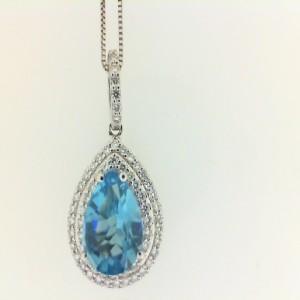 White 14 Karat Pendant With 0.30Tw Round Diamonds And One 1.77Ct Pear Blue Topaz Style: Box Metal: 14 Karat Color: White Length: 18
