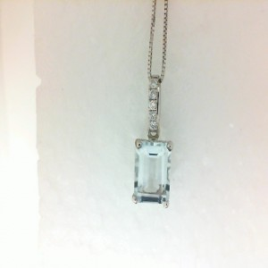 White 14 Karat Pendant With One 1.45Ct Emerald Cut Aqua And 5=0.05Tw Round Diamonds As Is