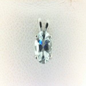 White 14 Karat Pendant With One 0.74Ct Oval Aqua