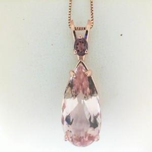Rose 14 Karat Pendant With One 10.46Ct Pear Morganite And One 0.28Ct Round Rhodolite Garnet