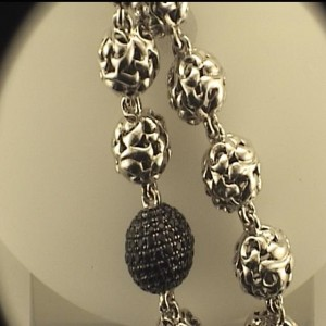 Lady s Sterling Silver Filigree Necklace With 135=2.02Tw Round Black Sapphires