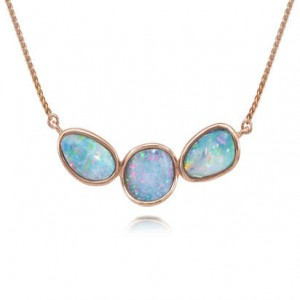 Rose 14 Karat Necklace Style Name: Australian Opal Doublet Style: Round Wheat Metal: 14 Karat Color: Rose Length: 18
