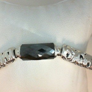 White Sterling Silver & 14Kw Necklace With One 22.00X8.00Mm Rectangle Hematite Style Name: SKYE Length: 17 /7MM