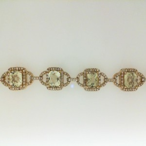 Yellow 14 Karat Bracelet With 10=9.06Tw Square Lemon Quartz And 420=1.96Tw Round Diamonds