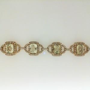 Yellow 14 Karat Bracelet With 10=9.06Tw Square Lemon Quartz And 420=1.96Tw Round Diamonds