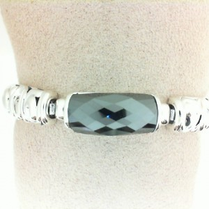 Sterling Silver Bracelet With One 22.00X8.00Mm Baguette Hematite Style Name: Skye Serial #: 8mm Length: 7.5