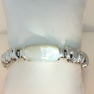 White Sterling Silver & 14Kw Bracelet With One 22.00X8.00Mm RectangleWhite Mother Of Pearl