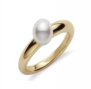 Yellow 18 Karat Ring With One 6.50Mm Round Pearl Name: Classic Elegance