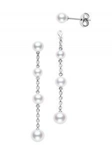 White 18 Karat Earrings Pearl Stud & Jacket 4.5 To 6 Mm A+ Quality