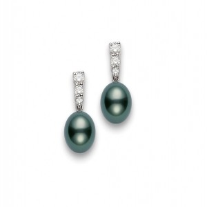 18 Karat White Gold Morning Dew Earrings With 2=9.00 Mm Round Tahitian Pearls And 6=0.48Tw Round Diamonds