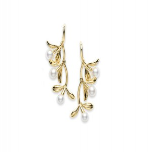 18 Karat Yellow Gold Pearl Olive Collection Dangle Earrings