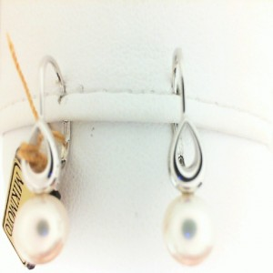 18 Karat White Gold 6.5Mm White Pearl Lever Back Drop Earrings