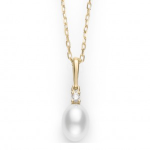 18 Karat Yellow Gold 7-7.5Mm Pearl Pendant With One 0.05Ct Round Diamond A+ Quality