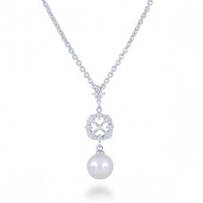 White 18 Karat Pendant With One 8.00Mm Round Pearl And 26=0.26Tw Round Diamonds Style Name: Classic- Cherish A+ Akoya Style: Cable Link Metal: 18 Karat Color: White Length: 16-18 Adjustable