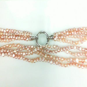 4 Strand Pink Freshwater Pearls With Sterling Clasp Length: 16