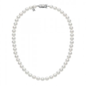 White 18 Karat Strand With 58=7.00-7.50Mm Round Pearls A Quality 18