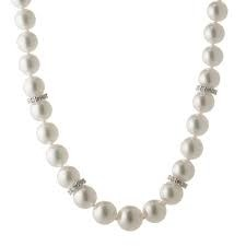 White 18 Karat Strand With 61=6.50-7.00Mm Round Pearls And 54=0.90Tw Round G Vs2 Diamonds