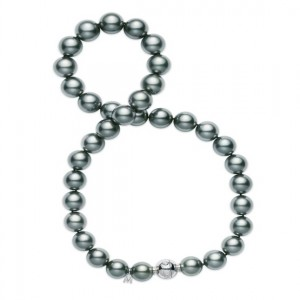 18 Karat Necklace With One Round G Vs2 Diamond And 41=10.90X8.50Mm Round Black Pearls Name: Blk South Sea Length: 16
