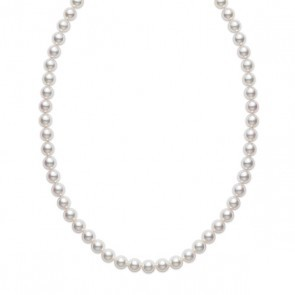 White 18 Karat Strand 7.00X6.50Mm Round Pearls A Quality 20