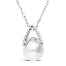 White 18 Karat Necklace With 52=0.25Tw Round Diamonds And One 12.00Mm A+ Round Pearl 23.5