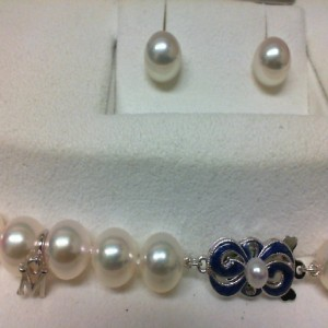 White 18 Karat Jewelry With 8.00-9.00Mm Round Pearls Style Name: A1 Quality- 120Th Anniversary Special Edition Set Length: 17 With Blue Enamel Clasp