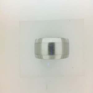 White 10 Karat Brushed & Polished Wedding Band Size 11 Diameter: 7Mm Name: M Fit