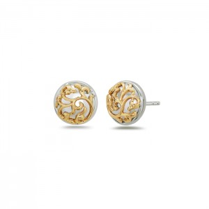 Sterling Silver & 18Ky Filigree Stud Earrings Diameter: 10.5mm Name: Ivy Lace