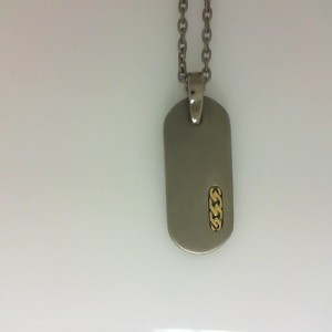 Edward Mirell: Titanium And 18 Karat Yellow Gold Dog Tag On 22-Inch Titanium Rolo Chain