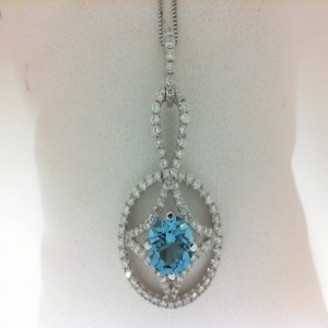White 14 Karat Pendant With 93=0.56Tw Round Diamonds And One 6.50Mm Round Blue Topaz