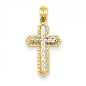Two-Tone 14 Karat Pendant Charm Type: Dia Cut Cross