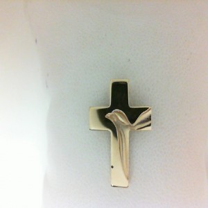 Yellow 14 Karat Cross With Dove Pendant