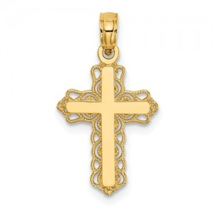 Yellow 14 Karat Filigree Cross Pendant