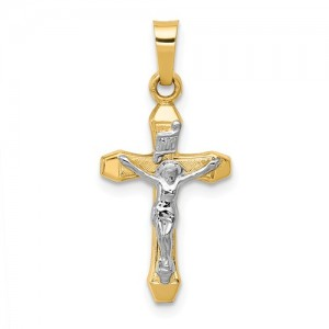 Two-Tone 14 Karat Crucifix Pendant