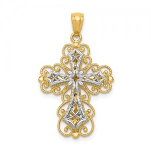 Two-Tone 14 Karat Cross