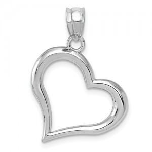 White 14 Karat Pendant Charm Type: Open Heart