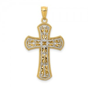 Two-Tone 14 Karat Pendant Charm Type: Two Layer Cross