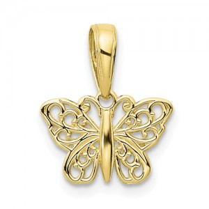 Yellow 10 Karat Filigree Butterfly