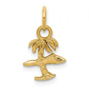Yellow 14 Karat Palm Tree & Island Charm
