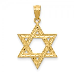 Yellow 14 Karat Diamond Cut Pendant Charm Type: Star Of David
