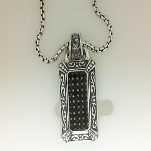 Scott Kay Sterling Silver Black Sapphire Dog Tag W/ 26 Inch Chain