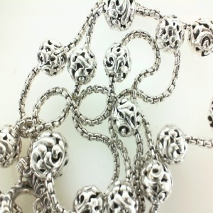 White Sterling Silver Filigree Box Chain Length: 36
