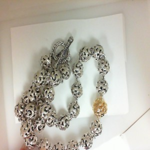 Lady s Sterling Silver & 18Kt Gold Necklace 18 Inch