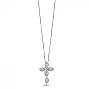 Firefly Sterling Silver Cross Chain With One 0.03 ct