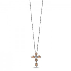White/Rose Sterling Silver & 18Kr Chain With One 0.06Ct Round K/L SI3-I1 Diamond Length: 36 Name: Firefly / .06 Ct Diamond 35Mm