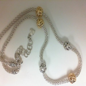 Two-Tone Sterling Silver & 18KY Micron Plated 18 Inch Chain