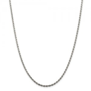 White Sterling Silver Chain Length: 20 Name: 2.25Mmdiamond-Cut Rope Chain