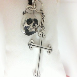 King Baby: Sterling Silver Chain Skull & Traditional Cross On Leather Cord Length: 22