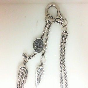 King Baby: Sterling Silver Chain Wing Necklace With Silver Ring & Windgdrops Length: 24