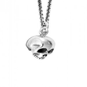 King Baby: Sterling Silver Chain Name: Micro Skull Pendant On Rolo Chain Length: 18